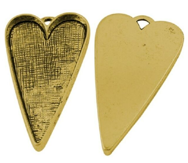 4 Antique Gold Large Love Heart Cabochon Settings - Steampunk - 53mm  TS237