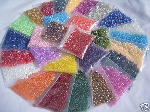 BEADS 30 DIFFERENT COLOURS Sizes 15,000 Bargain Price