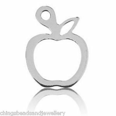 Analytisch Sterling Silver Apple Charm 15x10mm Pendant Pk1 Pk5