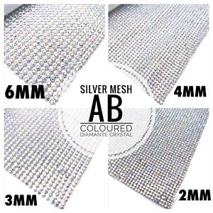 Iron-On-Diamante-Transfers-Strips-Hot-Fix-Rhinestone-Mesh-Silver-AB-Crystal-Trim