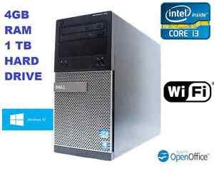 Dell Optiplex 390 Tower Core i3 DVD RW WIFI HDMI Windows 10 4GB Ram 1TB Hard