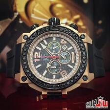 Techno Com 4.00ct Real Black Diamond Watch Rose Big Face Mens Hip Hop Chrono