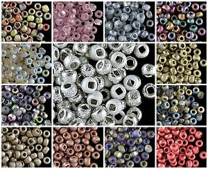 CHOOSE-COLOR-10g-6-0-3-7-4-3mm-Etched-Seed-Beads-Czech-Pressed-Glass