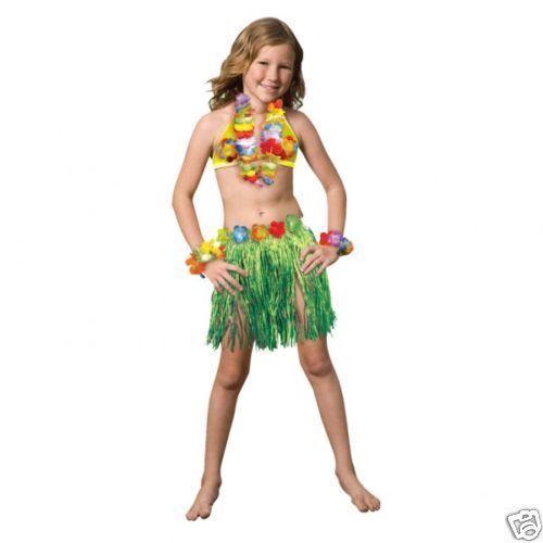 HAWAIIAN FANCY DRESS CHILDS skirt bra leis COMPLETE SET