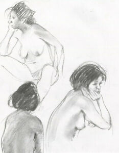 Contemporary Graphite Drawing - Studies of a Female Nude