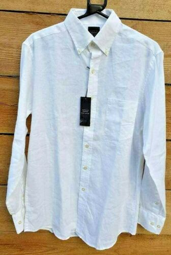Oxford New York lin-coton mélangé L//S Shirt Col Boutonné 16 32//33 Blanc