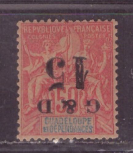 1903 French colony stamps, Guadeloupe, 15c on 50c Inverted OVPT, MH SC 47b, RARE