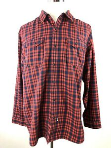 The-North-Face-Mens-Shirt-Snap-Button-Red-Plaid-Size-XL