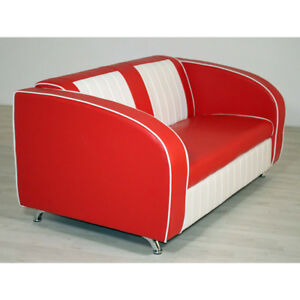 Sofabank Elvis Polstersofa Sofa In Rot Weiss American Diner Retro
