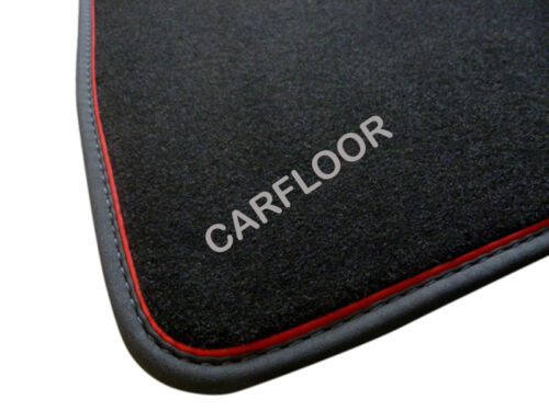 Für BMW 1er E87 Fußmatten Velours schwarz m Nubukband und roter Absetzung Sport