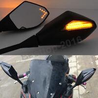 Black Motorcycle Mirrors Led Indicators For Kawasaki Ninja 250r 500r 650r Z750s