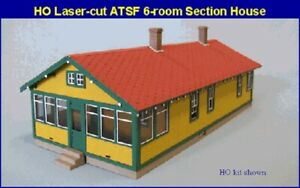 Blair-Line-194-ATSF-6-Room-Section-House-H0-1-87-Laser-Cut-Holz-Bausatz