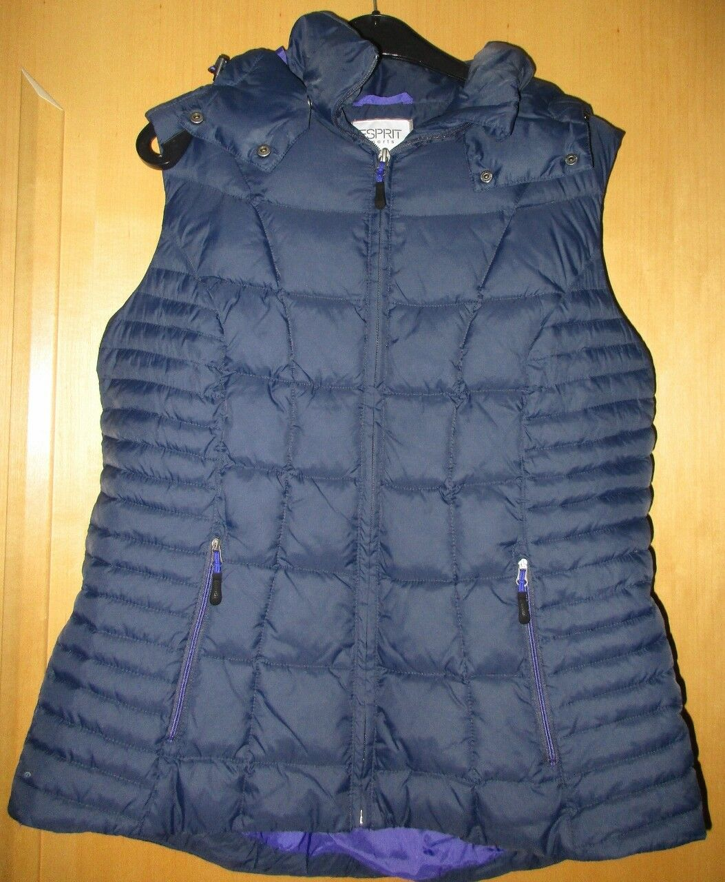 Esprit sports Steppweste Weste Stepp ärmellose Jacke Kapuze blau dunkelblau XL