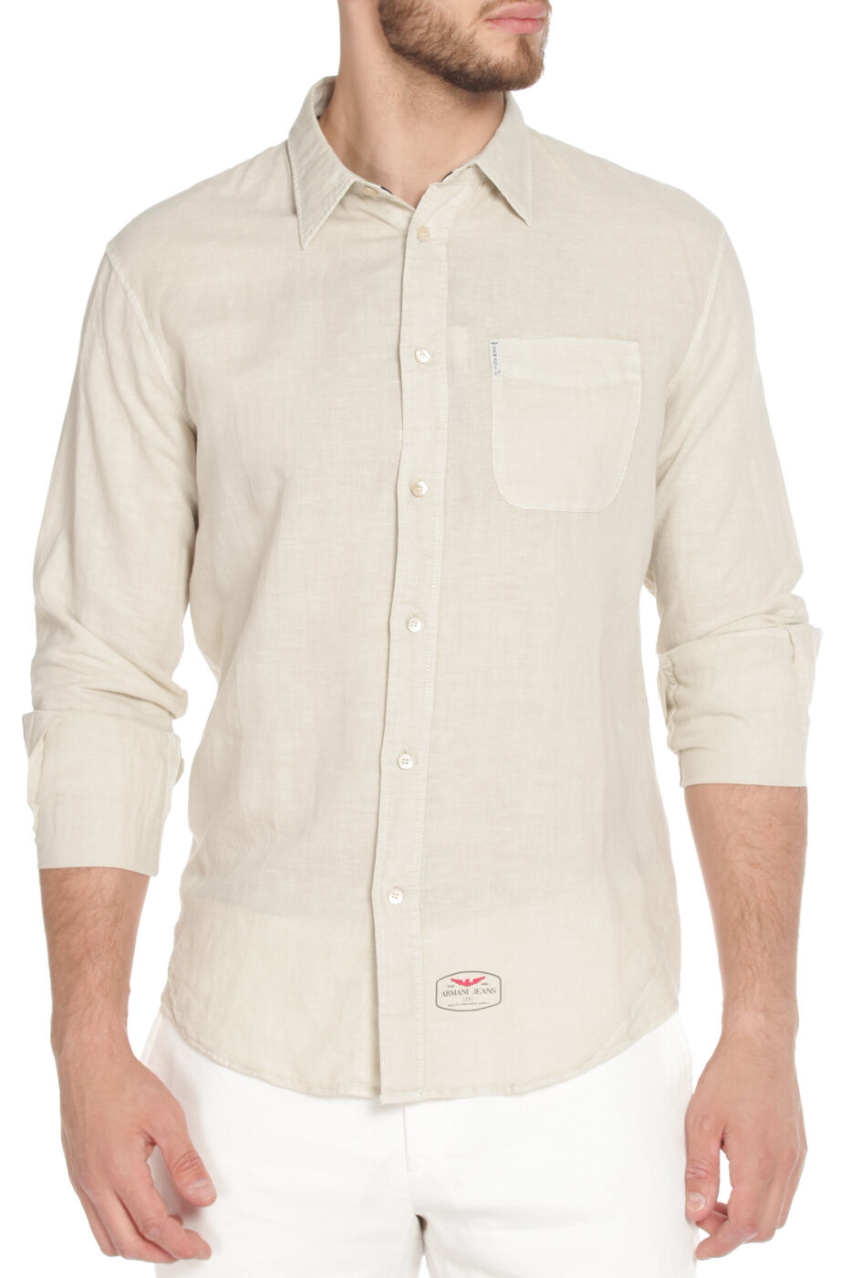 Armani Jeans Mens Casual Beige Linen Blend Shirt All Sizes BNWT