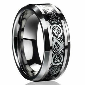 AS-EG-NEW-CELTIC-DRAGON-TITANIUM-STAINLESS-STEEL-MEN-BAND-RINGS-WEDDING-PARTY