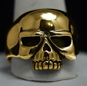 New Authentic 10K Gold Biker Jewelry Skeleton punisher skull ring