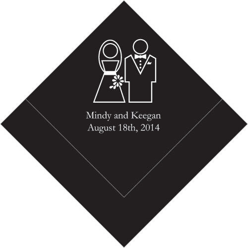 300 Stylized Couple Printed Wedding Luncheon Napkins