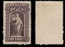 Canada Quebec Law Stamp 1893 80 Cents Handstamp & Punch Cancel QL40 #198I