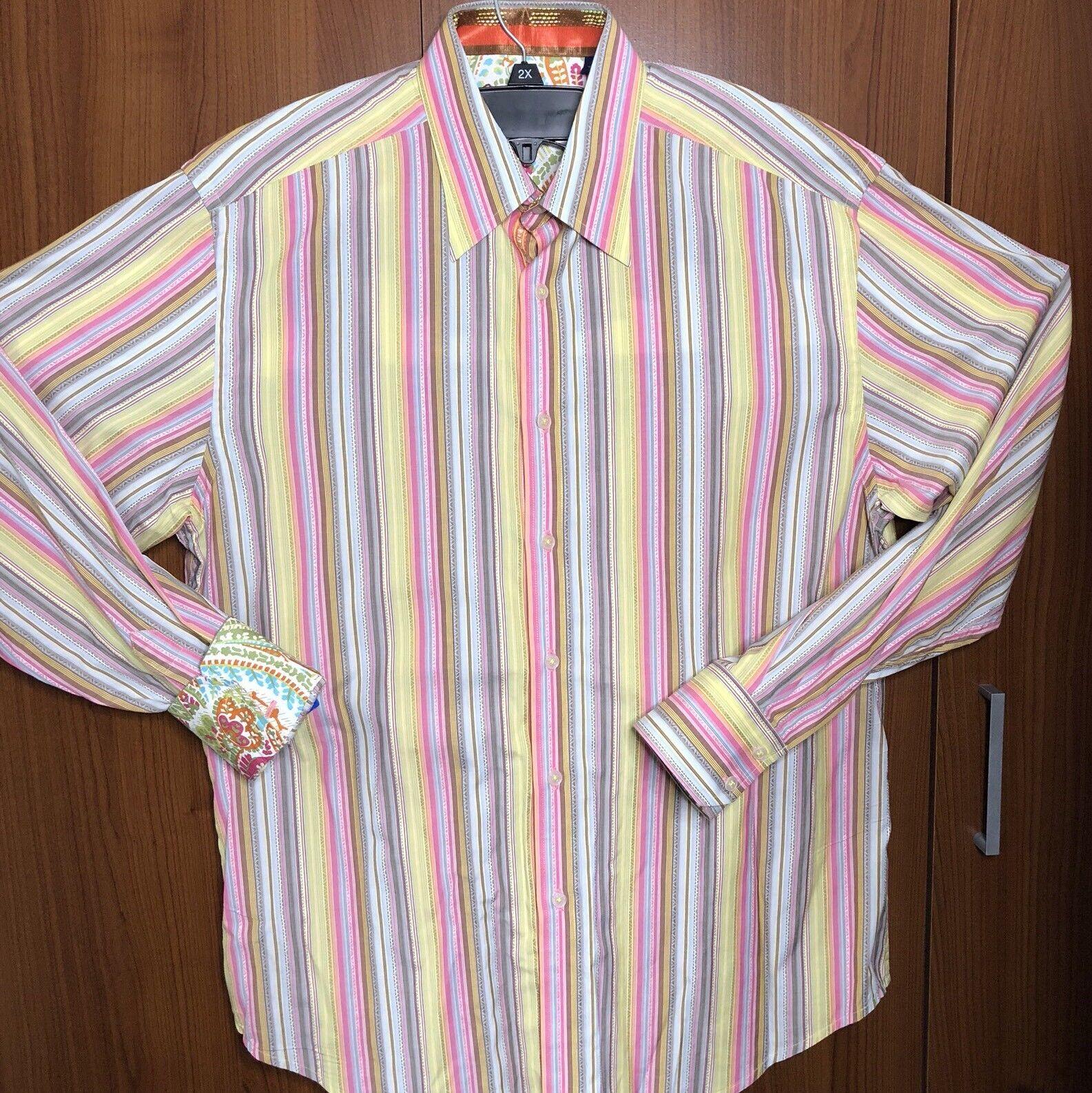 0679237d5 ROBERT GRAHAM Mens XL Button Down Dress Shirt Stripe Pink Multicolor  Longsleeve