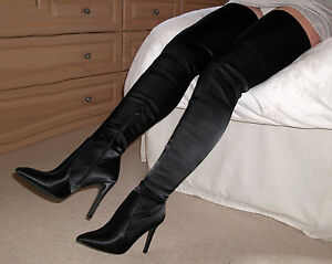 Stretch SATIN Leather High Heel Thigh Crotch Boots 4 5 6 7 8 37 38 49 40 41 42