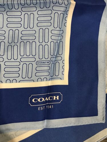 COACH Silk Scarf Light Blue/dark Border With Geome