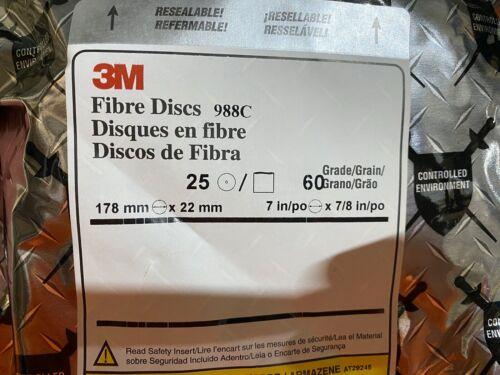 Bag of 25 3M Fibre Disc 988C 7 in x 7//8 in Grade 60 One 1