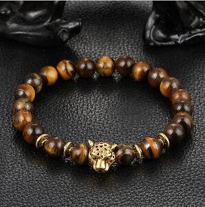 Fashion-Men-039-s-Yellow-Tiger-Eye-Gold-Leopard-Head-Beaded-Yogo-Stretch-Bracelet