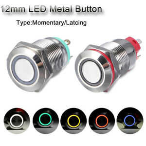 Blue LED Metal Switch Push Button On Off Momentary 12V 12mm Car Boat Panel