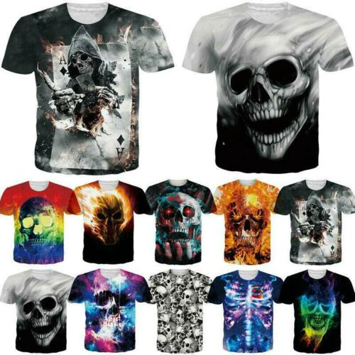 Men Women Skull 3D Printed T-Shirts Crewneck Summer Short Sleeve Halloween Tees