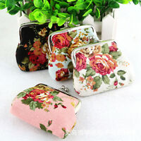 Womens Flowers Print Mini Wallet Coin Purse Hasp Clutch Card Holder Handbag