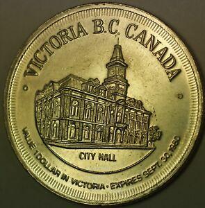 1971-Victoria-British-Canada-Gardens-City-Hall-Good-For-1-Dollar-UNC-Token