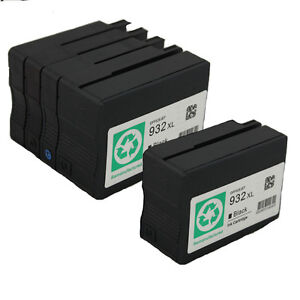 5 pk hp 932xl 933xl ink cartridges for hpofficejet 6100 6600 6700 7610 printer. Black Bedroom Furniture Sets. Home Design Ideas