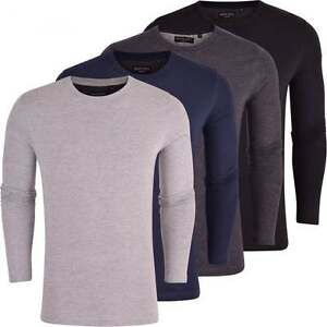 Brave-Soul-Mens-Long-Sleeved-T-Shirt-Plain-Cotton-Crew-Neck-Tee-Casual-Top