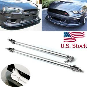 """13/"""" Adjustable Silver Front Bumper Lip Splitter Rod Strut Tie Bar For Audi Ford"""