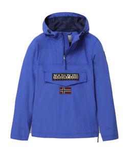 Giubbotto NAPAPIJRI da uomo blu elettrico con cappuccio e tasca giacca con zip
