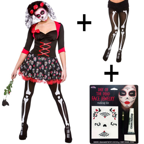 Tights New Adult Ladies Halloween Day Of The Dead Darling Fancy Dress Costume