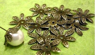 30pcs bendable antique bronze flower bead caps-1591