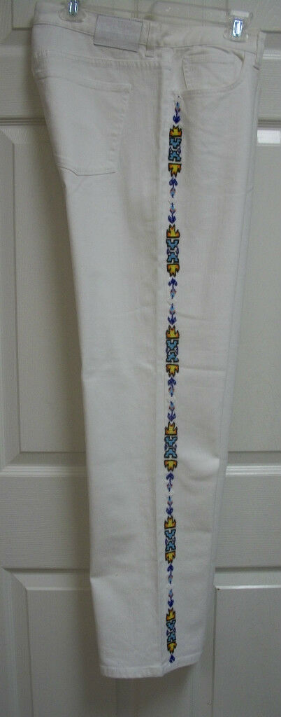 RALPH LAUREN POLO JEANS SOUTHWESTERN INDIAN BEAD WHITE AZTEC DENIM PANTS 14 SLIM