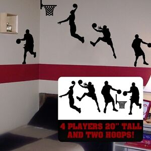 Details About Basketball Wall Art Basket Ball Players Room Decor Slam Dunk Player
