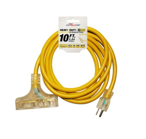 12//3 10ft 3-OUTLET Heavy Duty LIGHTED END Tri-Source Extension Cord 10 FEET