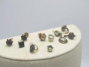 Vintage-14kt-amp-GF-Earring-Lot-1920s-1950-039-s-1-Pair-8-Singles-Screw-Posts