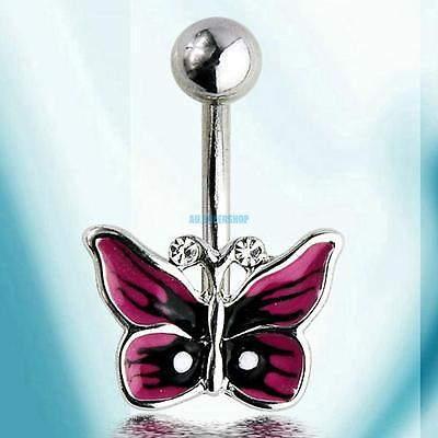 Steel Butterfly Ball Piercing Barbell Belly Button Navel Ring