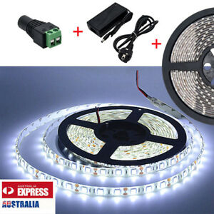 10m Flexible Bright Led Strip Lights 12v Waterproof 3528 Smd Cool White 600 Leds Ebay