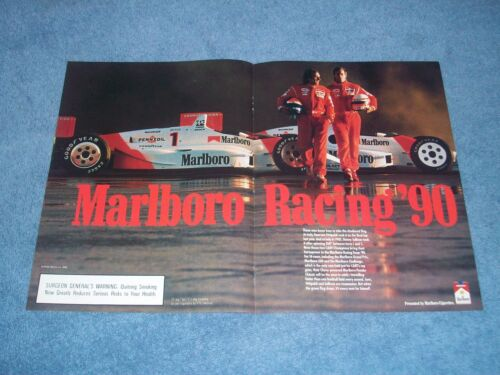 1990 Marlboro Racing 2pg Ad with Danny Sullivan Emerson Fittipaldi Penske Indy