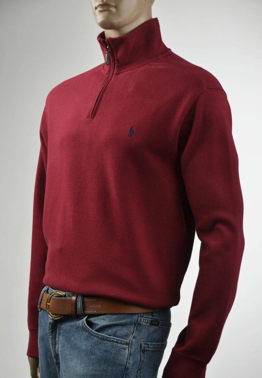 Ralph Lauren French-Ribbed Red Half-Zip Sweater bluee Pony -NWT