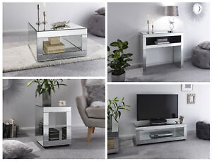 Details about Capri Mirrored Glass Living Room Range - Console, Lamp,  Coffee Table & TV Unit
