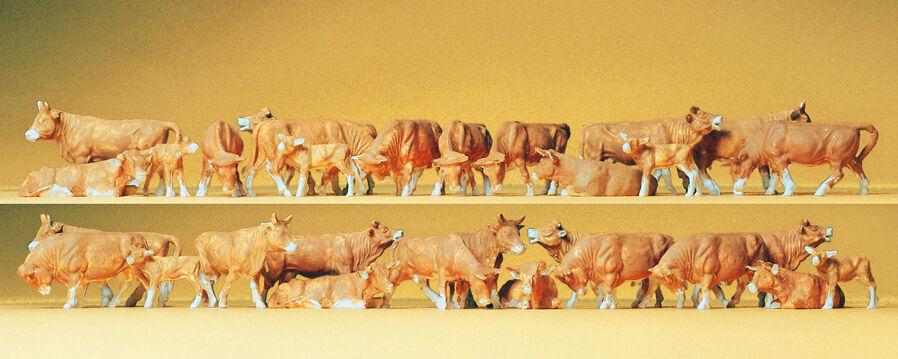 Preiser 14409  Kühe, brown, 30 Figuren,  H0