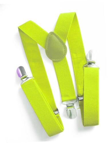 Kinderhosenträger Kinder Kids Hosenträger Stretch 1-7 Jahre 25mm Neon Gelb