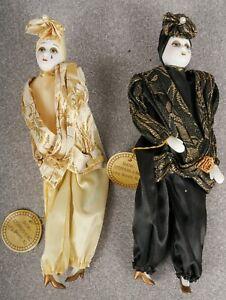 "2 Vintage 11"" Harlequin Jester Clown Porcelain Figurines Show Stoppers"
