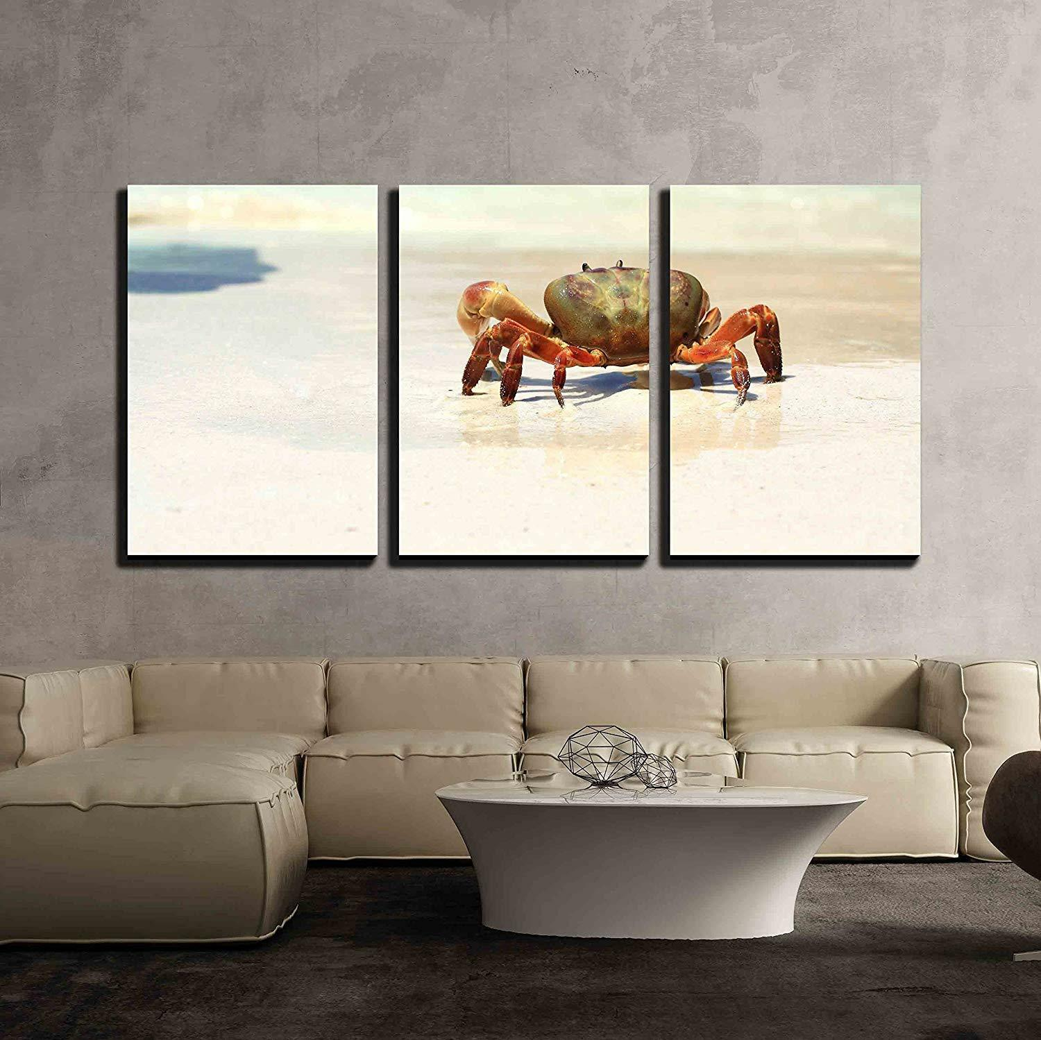 Wall26 - the Crab on the Beach - Canvas Art Wall Decor - 24 x36 x3 Panels